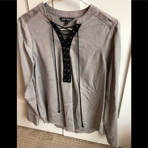 Lace up pull over blouse